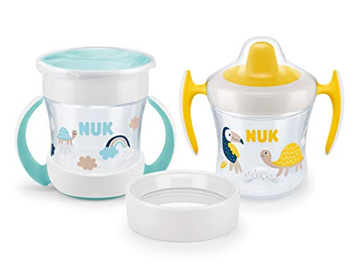NUK Mini Cups 3-in-1-Trinklernbecherset | Mini Magic Cup und Trainer Cup | auslaufsicherer 360°-Trinkrand | ab 6Monaten | praktische Griffe | BPA-frei | 160ml | 2Stück
