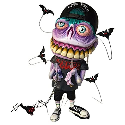 123 Life Angry Big Mouth Monster Statue, Scary Monster Halloween Decorations, Creative Home Alien Monster Decoration for Lawn Yard Balcony Porch Patio Outdoor Decorations (G)