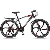 WPW Bicicletas de Montaña, MTB Ajustable de 24 Velocidades, Ruedas de 26 Pulgadas Bicicleta con Freno de Disco Doble, 6 Ruedas de Corte (Color : 24-Speed Red, Talla : 26inches)