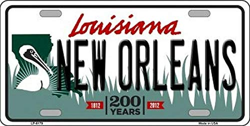 ZMKDLL Metal Tin Sign Wall Hanging Decoration Plaque Sign License Plate Tag, New Orleans Louisiana State Background Metal Novelty License Plate Tag, Car Plate Aluminum Plate 12 X 6 in