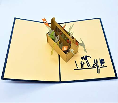 BC Worldwide Ltd Handgemachte 3D-Popup-Karte Toolbox Vatertagskarte, Alles Gute zum Geburtstagskarte, New Home DIY Einweihungsparty, Kindergeburtstag, Grüße