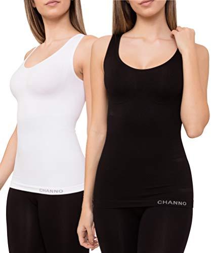 Pack de 2 Camisetas Interiores Reductoras con Tirantes Anchos sin Relleno Cómodas y Elásticas Seamless Sin Costuras (Blanco Negro, XL/XXL)