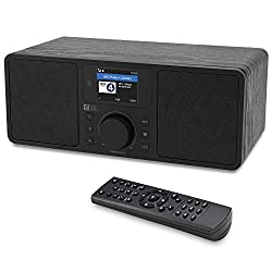 Ocean Digital WiFi/FM Internet Radio WR230S Alarm Clock Radio with Bluetooth Receiver & Ethernet Port, Stereo Speakers, Line Out, Aux in, 20,000+ Stations, 2.4 Color Display- Black in Wooden Case