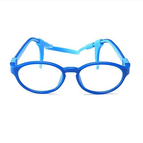 Yajiemei Yajiemei Brillengestell Kinder Silikon Brillengestell Nicht verschreibungspflichtige Brillen für Frauen (Color : Blue)