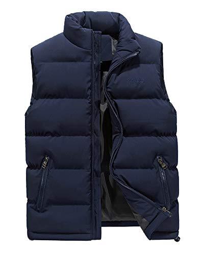 AnyuA Herren Steppweste Weste mit Reißverschluss Taschen Futter mit Kletttasche Blau L