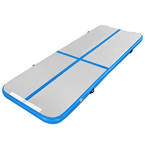 ALPIDEX Tumbling Matte 3m / 4m / 6m Gymnastikmatte Turnmatte Aufblasbar Akrobatik Trainingsmatte 10 cm Hoch, Länge:3m, Farbe:Blau mit Pumpe