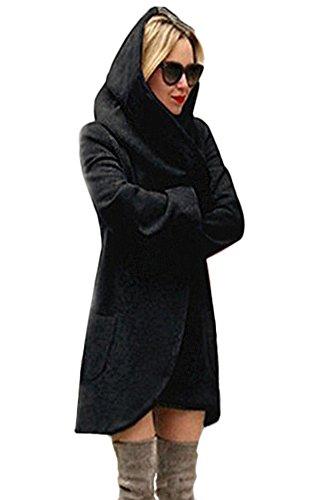 Minetom Basic Jacket Giacca con Cappuccio Donna Hoodie Cappotto Cappotti Autunno Inverno Cardigan Casuale Moda Parka (IT 44, Nero)