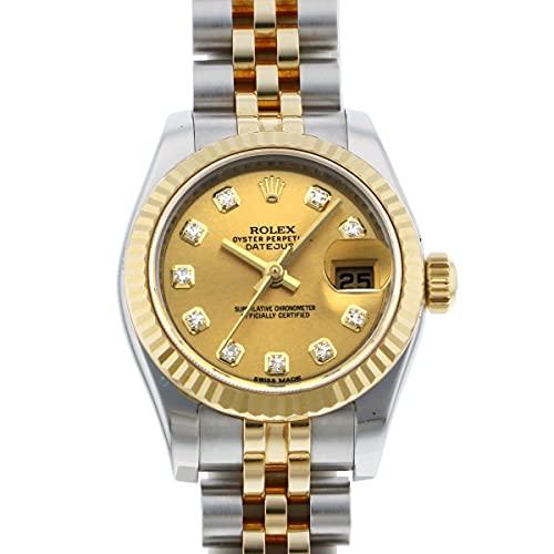 ロレックス ROLEX デイトジャスト ステンレス・イエローゴールド レディース 179173G シャンパン文字盤 中古 腕時計 (W209608) [並行輸入品]