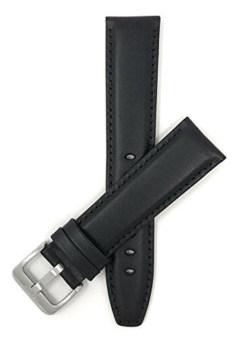 Bandini 22mm Extra lang (XL) Uhrenarmband, Lederarmband Ersatzband für Herren - Schwarz - Sports
