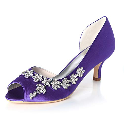 Elaboky Frauen Hochzeiten Brautschuhe Rheinschuhe Side-Raum Satin Size Slip auf GF-H Evening/6cm Ferse, Purple, 43
