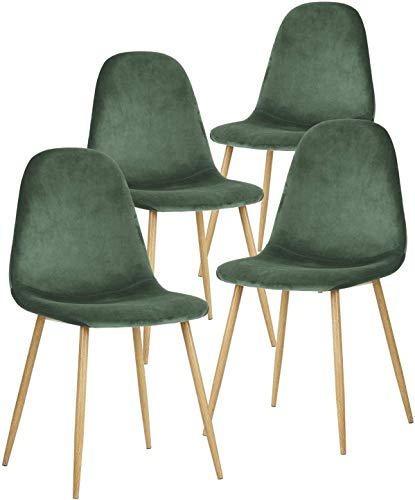 GroBKau - Juego de 4 sillas de Comedor de Tela de Terciopelo, sillas de Ocio tapizadas de diseño Retro con Patas de Metal Tran-Sprint de Madera (Verde Oscuro)