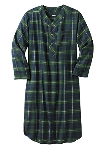 KingSize Men's Big & Tall Plaid Flannel Nightshirt, Midnight Plaid Big-7Xl/8X