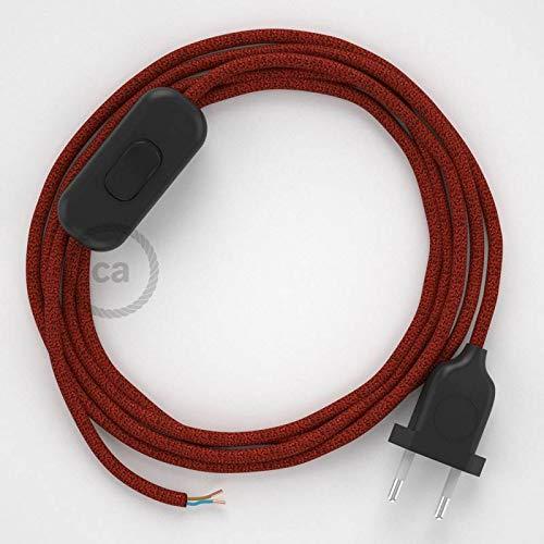 Textile Câble Câble De Connexion Avec Connecteur Commutateur 2x0,75 NOIR BLANC 3 M Câble