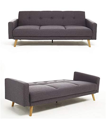 Bravich Modern 3 Seater Sofa Bed Fabric Couch Settee Click Clack Sofa Bed With Memory Foam Padding NARVICK Recliner Bed Sofa For Living Room GREY/GRAY