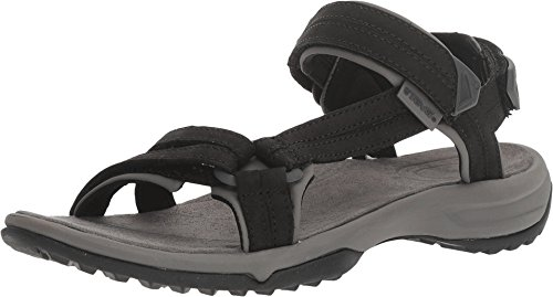 Teva Women's Terra FI LITE Leather Sandal, Black, 10 Medium US