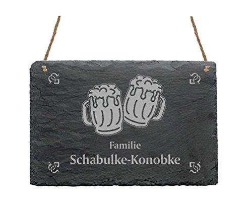 Leistenen bord « Familie -IHR NAME- » met BERKRÜGE motief - 22 x 16 cm - deurplaat van leisteen Bier Brauer Braumeister Bierbroer