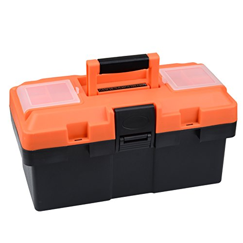 Plastic Tool Box, 14 -inch Portable Tool Box Plastic Toolbox with Removable Tool Tray and Detachable Tool Kit For Craft Storage, Household