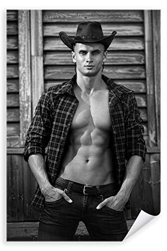 Postereck - Poster 1134 - Sexy Mann, Cowboy Hemd Muskeln Western Hut Erotik SW Größe DIN - A3-29.7 cm x 42.0 cm
