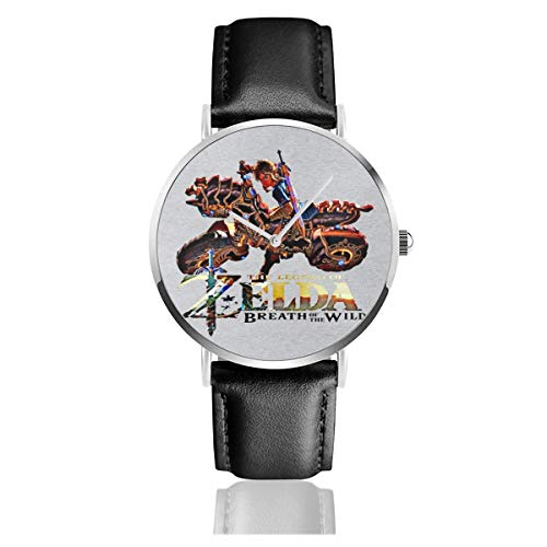 Unisex Business Casual Zelda Breath of The Wild Motorrad Uhren Quarz Leder Uhr mit schwarzem Lederband für Männer Frauen Junge Kollektion Geschenk