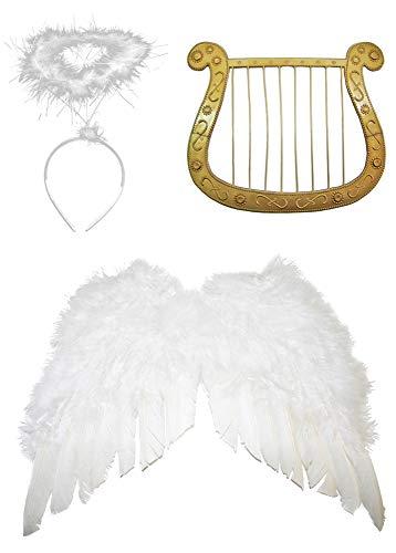 Das Kostümland Engel Set 3-TLG. für Weihnachten - Klein Flügelbreite 40 cm - Engelsflügel, Heiligenschein und Harfe