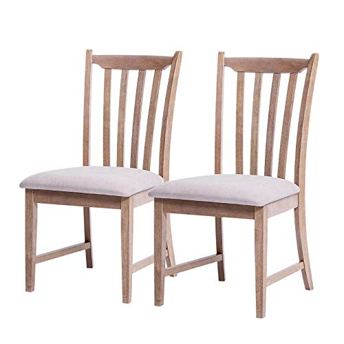 Furgle Set of 2 Dining Side Chair Oak Wood Modern Kitchen Dining Chair with Vertical Slatted Back and Upholstered Seat Covered Microfiber Cushion