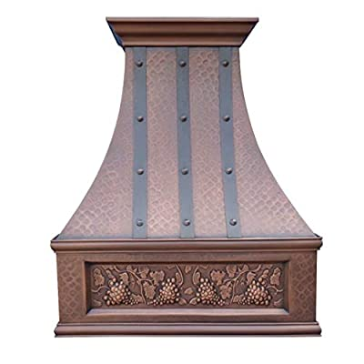 """SINDA 30""""Wx36""""H Wall Mount Hand-Crafted Copper Range Hood with High Airflow Centrifugal Blower, Includes SUS 304 Liner and Baffle Filter and Vent Motor, Light Hammered-Antique Copper, H7LTRGRW3036"""