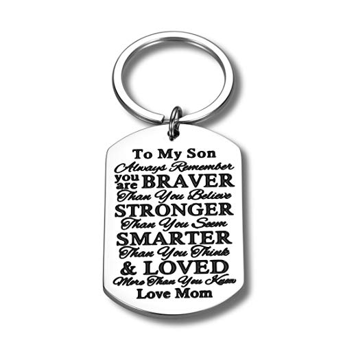 Inspirational Keychain Gifts for Son from Mom Tag Encouragement Present for Teen Boys Men Jewelry Gift Birthday Military Day Graduation Wedding Day Always Remember You Are Braver Pendant