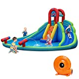 9. HONEY JOY Inflatable Water Slides, Kids Jumping Bounce House w/Long Slides, Climbing Wall & Lagre Splash Pool, Water Cannons & Hose for Summer Fun, Blow up Water Park for Backyard (with 780w Blower)