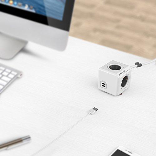 Allocacoc PowerCube Orginal Extended USB 4xSteckdose 2xUSB 1,5m Kabel grau 2194
