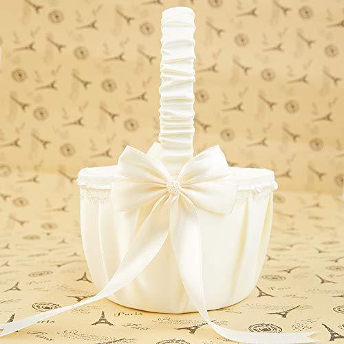 LAPUDA - Cesta de flores para niña, para boda, fiesta, banquete, Navidad, uso diario, color beige