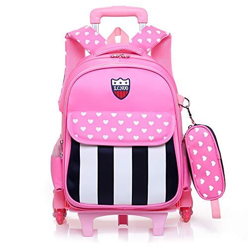 子供 2Way キャリーケース ランドセル 着脱式 旅行 トロリー 学生スーツケース ボーイズ ガールズ 小学生 撥水加工 バック (ピンク)