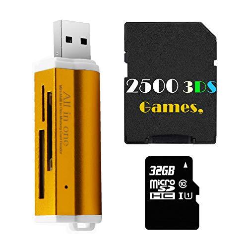 2500 3DS Game en Tarjeta SD de 32GB con Lector USB para DS DSI 2DS 3DS