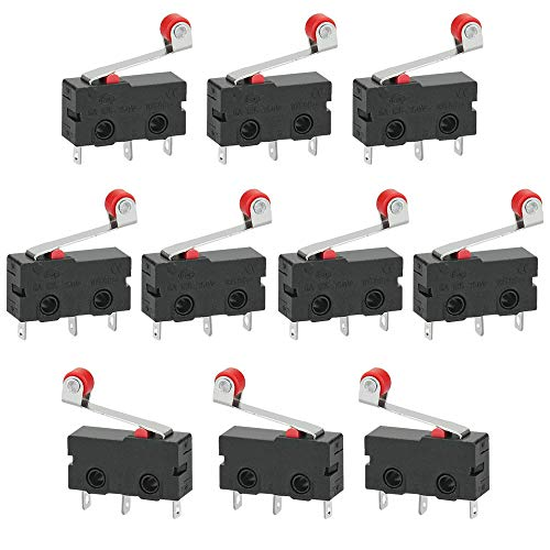 GOLRISEN 10 Stück Mikroschalter Endschalter mit Rollenhebel 250V 5A SPDT 1NO 1NC Endlagenschalter Mini Miniatur Schalter Limit Switch 3 Pins für Arduino Mechanik Elektronische Geraete Automaten