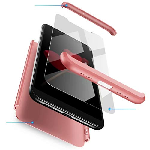 Azihone Funda Compatible Xiaomi Redmi Note 7 con 360°Todo Incluido Anti-Scratch, 3 en 1 Hard PC Caja Cover Resistente al Desgaste+Regalar 2*HD Vidrio Templado Carcasa Case-Oro Rosa