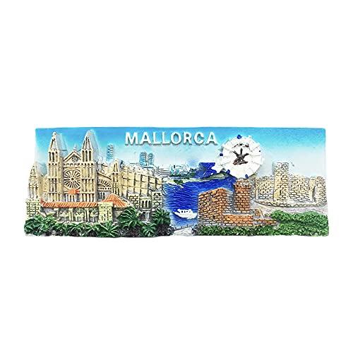 Mallorca España 3D Imán para nevera regalo de recuerdo, hecho a mano para decoración del hogar y la cocina Mallorca colección de imanes