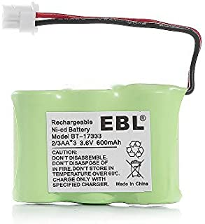 EBL Rechargeable NiCD Cordless Telephone Battery Replacement Pack for 2/3AA 600mAh 3.6V VTech BT-17333 BT-27333