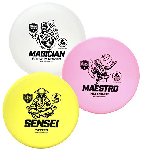 Discmania Active Soft Disc Golf Set of 3 – Includes Disc Golf Putter, Mid-Range and Driver (Colors Will Vary)