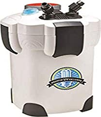 Includes UV sterilizer to eradicate algae spores and harmful bacteria Suitable for tanks up to 175 gal Extremely quiet 4+1 Stage filtration system 525 gals/hr Suitable for tanks up to 175-gallon 9-Watt UV sterilizer Dimensions: 18-Inch by 12-Inch by ...