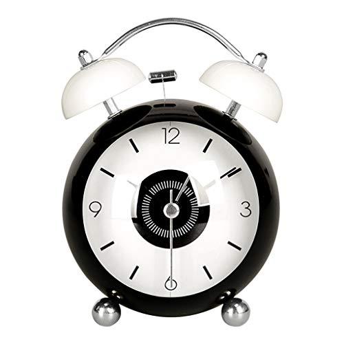 TQJ Despertadores Digitales Linda de la historieta Despertador Estudiante del niño reloj de cabecera del reloj mecánico de Bell alarma silenciosa del reloj de tabla del metal Reloj de mesa blanca Desp