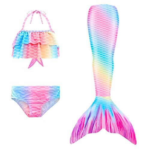 Lito Angels Conjunto de 3 Piezas Cola de Sirena para Nadar, Traje de Baño Bikini de Sirena para Niñas pequeñas, Talla 6 a 7 Años, Arcoiris