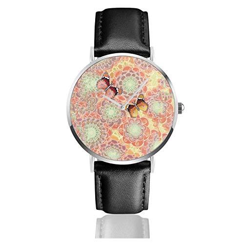 Relojes Anolog Negocio Cuarzo Cuero de PU Amable Relojes de Pulsera Wrist Watches Obsesión por Las Mariposas