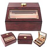 TIME C Club - Humidor de cigarros hecho a mano, caja de cigarros de madera para 15-75 cigarros, madera de cedro español maciza 100% real, higrómetro de lujo y humidificadores de escritorio
