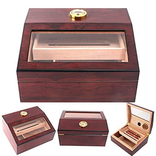 TIME C Club Cigar Humidor Scatola per sigari in legno fatta a mano per sigari 15-75, 100% vero legno di cedro spagnolo massello, umidificatore da tavolo con igrometro di lusso e umidificatore