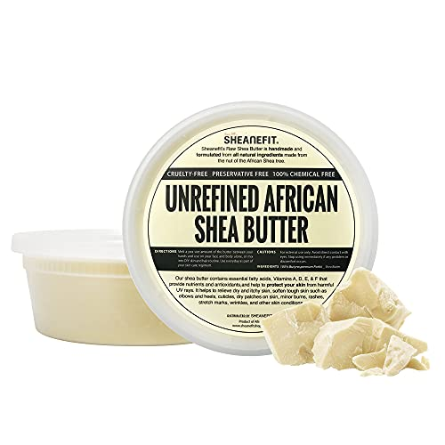Sheanefit Raw Unrefined African Shea Butter, Natural Body Butter, Soft & Smooth Daily Moisturizer For Face & Body Ivory 8oz (Pack of 1)