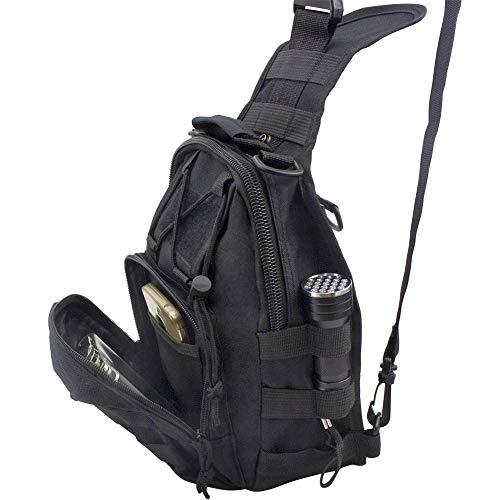 Shuweiuk Tactical Sling-Rucksack Militär Schulter Kasten EDC-Tasche für Outdoor-Sport Camp Wandern, schwarz - 3