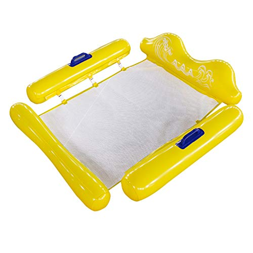 Queta Hamaca flotante Inflable Silla balsa reclinable hinchable piscina Cama flotante reclinable inflable con respaldo flotante Tumbona Inflable de agua para adultos y niños (amarillo)