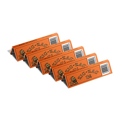 ZIG ZAG Rolling Papers – 1 ¼ French Orange Rolling Papers – Natural Gum Arabic – 78 MM - 5 Booklets with 32 Papers per Booklet
