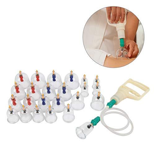 24 stücke Professionelle Schröpfen Therapie Equipmentm Kit, U-form Tassen Chinesischen Vakuum Schröpfen Set mit pumpen griff, Rückenmassage Vakuum Saug Akupunktur haushalt Ziehen Schröpfen