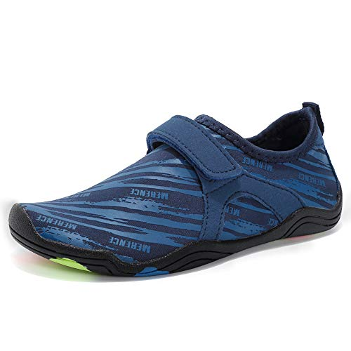 Boys & Girls Water Shoes Lightweight Comfort Sole Easy Walking Athletic Slip on Aqua Sock(Toddler/Little Kid/Big Kid) DKSXM-Z.Blue-26