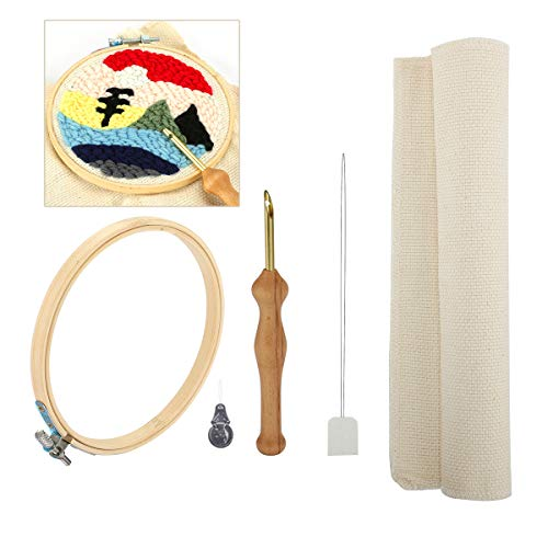 Looen Wooden Handle Embroidery Pen Punch Needle Set Craft Needlework Stitching Kit Include Embroidery Hoop Fabric Table Cloth Felting Threader (Set 1)